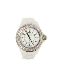 Chanel Chanel White Ceramic & Pink Sapphire J-12 Watch