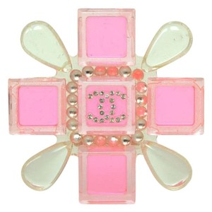 Chanel Chanel Pink & Clear Resin Cross Brooch