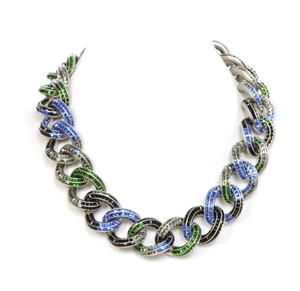 Chanel Chanel '15 Multi-Colored Crystal Encrusted Chain Link Necklace