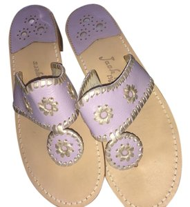 Jack Rogers Flats Leather Lilly Pulitzer Palm Beach Style Light Lilac and Platinum Sandals
