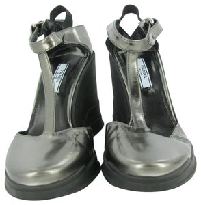 Prada Silver Wedges