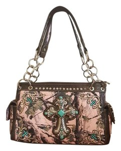 Montana West Western Embellished Embroidered Camouflage Satchel in Pink/Camo