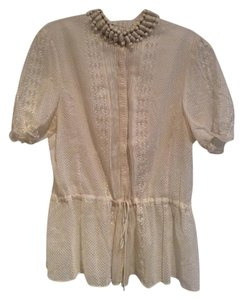 Elie Tahari Delicate Vintage Looking Top Linen cream