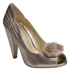 Seychelles Dancing Peep Toe 1950s Pewter Pumps