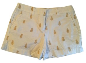 Ann Taylor LOFT Pineapple Shorts White and Gold