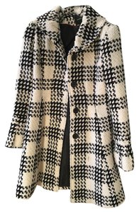 Express Houndstooth Checkered Trench Coat