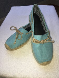 Sperry Topsider Espadrille Fabric Canvas Comfortable Turquoise Blue and Tan Leather Flats