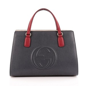 Gucci Top Handle Leather Satchel in Navy/Red/White