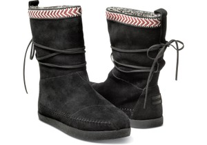 TOMS Nepal Bootie Soft Warm Suede Black and Red/White Trim Boots