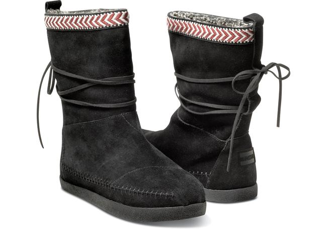 Item - Black and Red/White Trim Nepal Suede with Leather Lace Boots/Booties Size US 9 Regular (M, B)