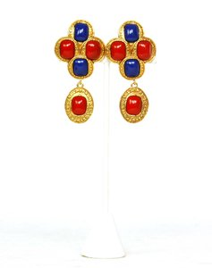 Chanel CHANEL Vintage '88 Red & Blue Enamel Gold Dangle Clip On Earrings