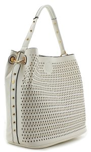 Lisa Fang Perforated Gold-toned White Tote