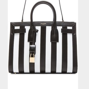 Saint Laurent Satchel in Black And White