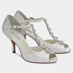 Benjamin Adams Vintage T-strap Crystal Trim Wedding Shoes Bridal Shoes Wedding Shoes
