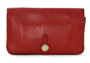 Hermès Hermes Red Clemence Leather Dogon Wallet