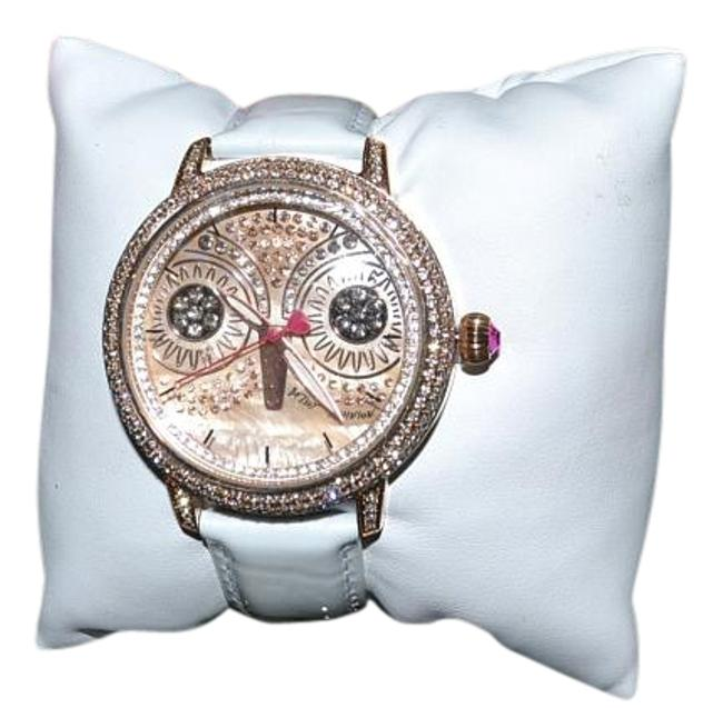 Item - Rose Gold White Patent Leather Glitzy Owl Band Crystals Watch