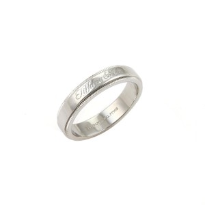 Cartier Tiffany Co. Signature Platinum Milgrain 4mm Wide Wedding Band Ring -