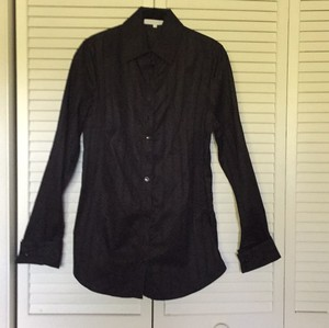 Anne Fontaine Cotton Blouse Shirt Cuff Links Swallo Button Down Shirt Black