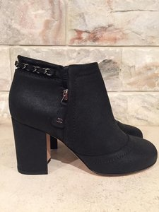 Chanel Chain Classic Stiletto Bootie black Boots