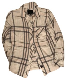 Rails Shirt Flannel Flannel Shirt Button Down Shirt White/Pink/Grey