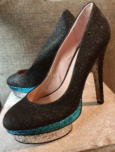Betsey Johnson Black with Turquoise & Silver Pumps