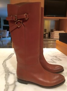 Ralph Lauren Collection #flatboot #equestrian #brassbuckle #brownboots caramel Boots