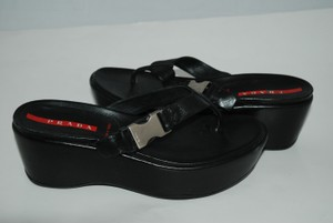 Prada Thong Sandal Black Wedges