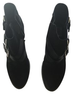 Dolce Vita Size 6 Suede Stacked Heel Black Boots