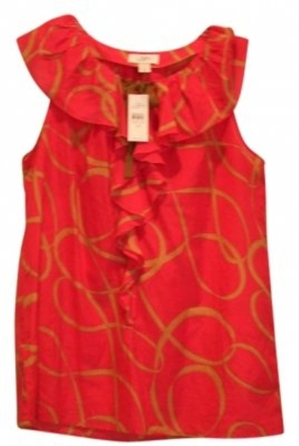 Preload https://item1.tradesy.com/images/ann-taylor-loft-red-and-tan-sleeveless-ruffle-blouse-size-8-m-20015-0-0.jpg?width=400&height=650
