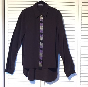 Gryphon Beaded Silk Blouse Cuffs Shirt Button Down Shirt Black