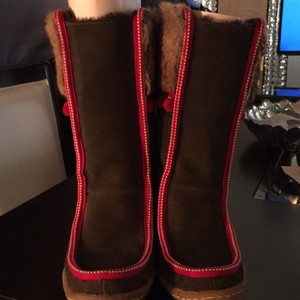 Tory Burch OLV/LT BR/RED-NAT-LAN GRY/RED/OLV Boots