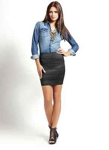 Pleasure Doing Business Bn Disco Metallic Designer Bandage Skirt Blacks