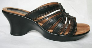 Clarks Casual Leather Summer black Wedges