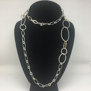David Yurman Oval Link Chain Long Necklace With 18k Yellow Gold
