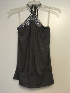 Tempted New Years Eve Holiday Sparkle Halter Gray Halter Top