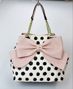 Betsey Johnson Dot Tote in white with black polka dots