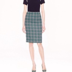 J.Crew Skirt Emerald Navy Off White