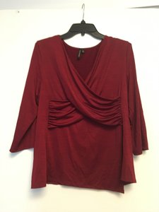 Susan Lawrence Valentines Day Date Night Draped Flattering Top Ruby red