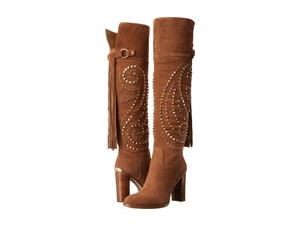 Michael Kors Suede Studded Knee High Caramel Brown Boots