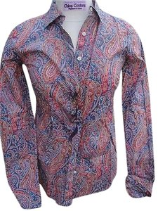 J.Crew Designer London Liberty Art Paisley Floral Printed 0 Top Multi-Color
