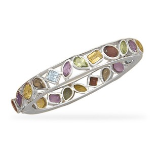 Sterling Silver Multistone Bangle