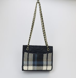 Tory Burch Plaid Chain Leather Woven Shoulder Bag