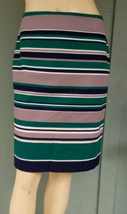 Talbots Cotton Striped Straight Skirt Green