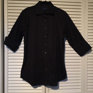 Façonnable Shirt 3/4 Sleeve Collar Button Down Shirt Black