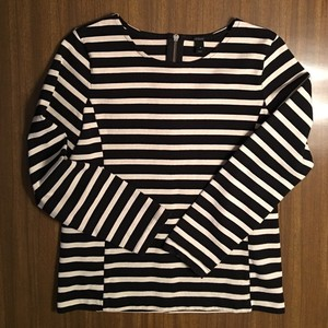 J.Crew Sailor Striped Zipper Top Black and Ivory