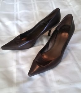 Nine West Low Heels Pointy Toe Wear To Work Leather Brown Pumps