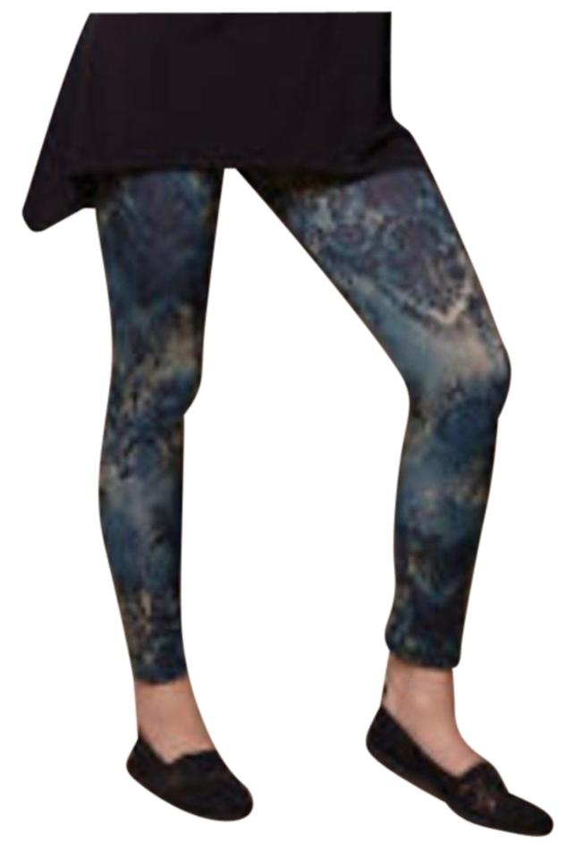 8cdab1da3604af Lbisse Abstract Pattern Print Greens Blues Leggings Image 0 ...