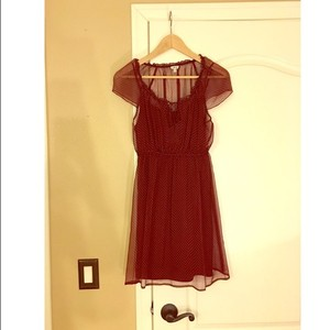 Forever 21 short dress burgundy with dots on Tradesy