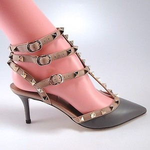 Valentino Matte Calf Rockstud Kitten Heels Color Gray Pumps