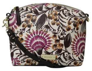 Brahmin Floral Leather Gold Hardware Cross Body Bag